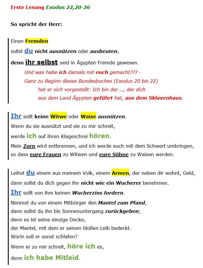 Exodus 22, 20-26 - erste Lesung - strukturiert