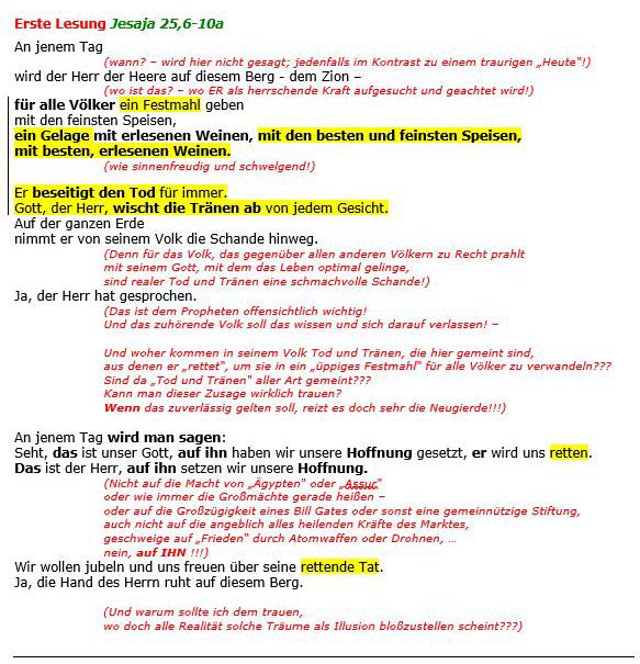 Erste Lesung Jesaja 25,6-10a