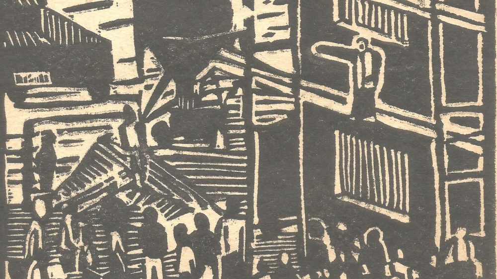 redender Arbeiter (Linol) Rainer Petrak 1956